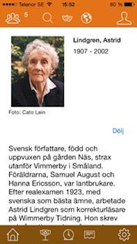 Författaruppslag för Astrid Lindgren i Alex App.