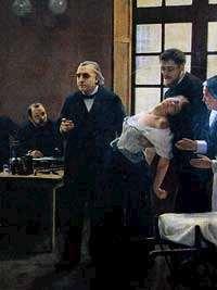 André Bouillets målning av professor Jean-Martin Charcot undervisade vid Salpêtrière i Paris.