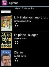 Lista med böcker i appen Legimus.