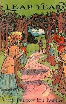 Vykort från 1908 texten Skottår, Osäkra för en stackars ensam ungkarl.