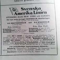Annons för Svenska Amerikalinien i UNT:s julnummer.