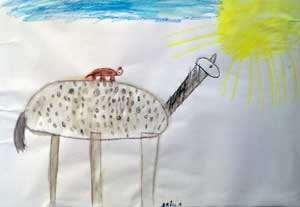 Barnteckning som föreställer herr Nilsson och Lilla gubbe.