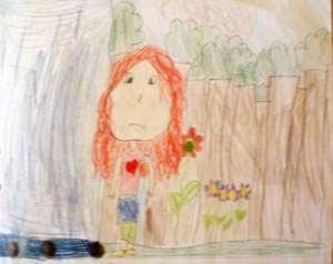 TEckninge av en flicka med rött hår och blommor.