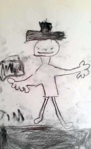 Barnteckning som föreställer Rasmus i Luffen som spelar dragspel.