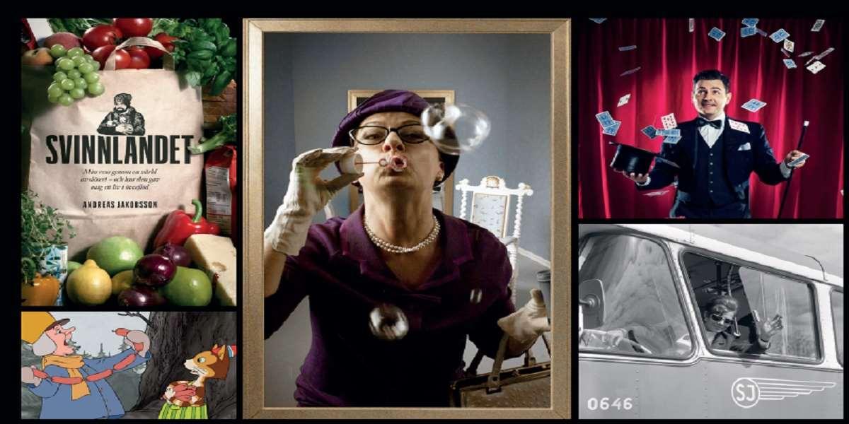 Kvinna blåser såpbubblor. Man kastar kort. Kvinna vinkar från en buss. Påse med frukt och grönsaker. Tecknad figur och en tecknad katt.