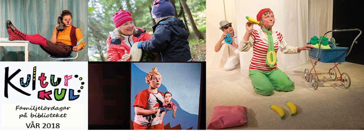 Bilder från barnteatrar som kommer under våren 2018