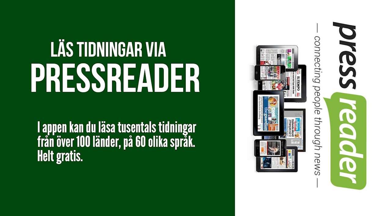 """Text """"läs tidningar via pressreader -  i appen kan du läsa tudentals tidningar från över 100 länder, på 60 olika språk. Helt gratis. Bild på pressreaders logotyp."""