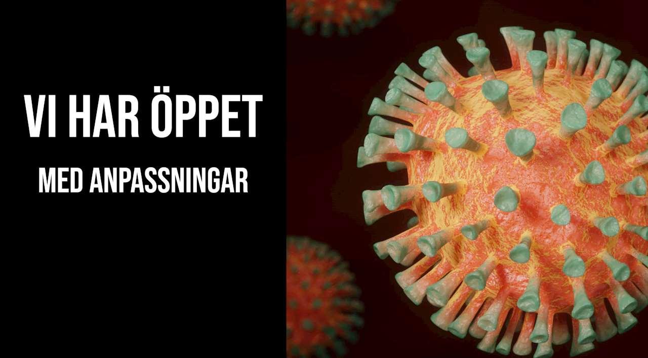 Vi har öppet med anpassningar bild: coronavirus